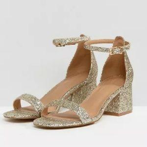 Brand New ASOS Gold Glitter Heels
